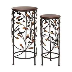 Two Wood Metal Beautiful Decorative Plant Stands Patio