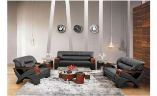 Modern BLACK contemporary 2034 LEATHER Living Room Sofa SET