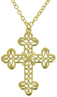 New Yellow Gold GP Big Large Cross Necklace Pendant