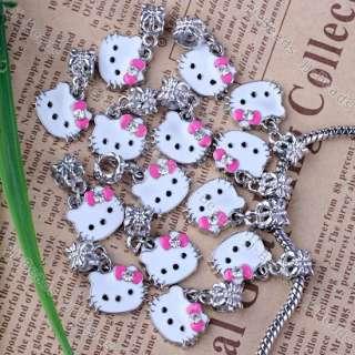 20p Pink Enamel Crystal Hellokitty Dangle Beads Charms