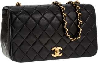 Chanel Black Lambskin Leather Classic Single Flap Bag NR