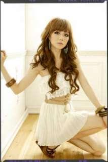 Womens Lotus Lace Pleated Chiffon Dress with Belt 2774#