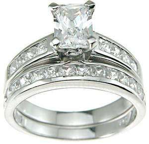 2CT PRINCESS EMERALD CUT WEDDING RING SET 5 6 7 8 9