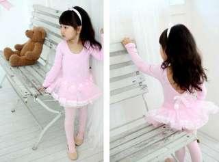 Girls Pink Party Leotard Ballet Dance Fairy Costume Dress Tutu Skirt