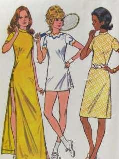 Vtg Retro 1970s McCalls 3163 Long Dress Shorts Pattern Sz 12/34 Tennis