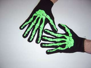 New GOTHIC Black Mens Skeleton Bones Work Gloves PUNK