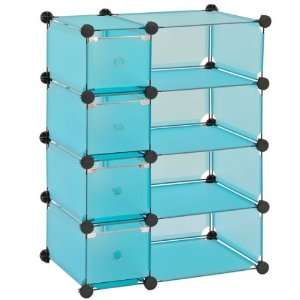 Lee MSCD 8BU Blue Steel Modular Cube with Drawers Storage System