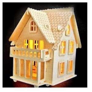 wooden dollhouse villa model wood house european light2