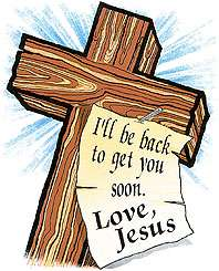 CHRISTIAN T SHIRTS APPAREL WOODEN CROSS JESUS CHRIST BE BACK SOON LOVE