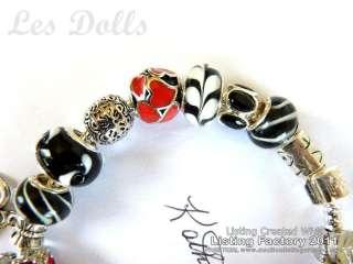 925 STERLING SILVER Black,White,Red  EUROPEAN CHARM BRACELET & Beads