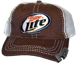 Miller Lite Beer Alcohol Adjustable Mens Bottle Opener Trucker Cap
