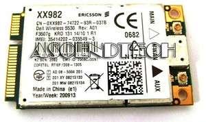 DELL 5530 3G HSDPA MINI CARD WWAN WIRELESS CARD XX982 0XX982 CN 0XX982