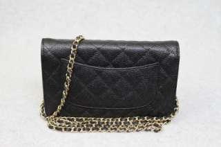 Chain Black GOLD Chain Caviar Leather WOC Messenger Bag New