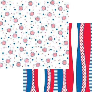 12X12 Sheet MOXXIE Scrapbook4th July RED WHITE & BLUE PAPER