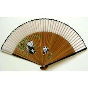 Chinese Painting Silk Bamboo White Fan Panda