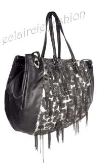VALENTINO Glam Sequined Double Handles Chains Leather Tote Bag Handbag