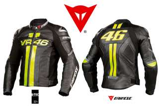 NEW   DAINESE VR46 PELLE   MOTORCYCLE LEATHER JACKET   BLACK GIALLO
