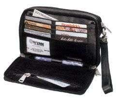Winn Black Leather Travel Clutch Wallet Mens Purse Man Bag Black NWT