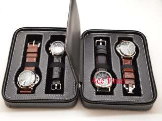 Watch Black Genuine Leather Zippered Traveling & Storage Case Fits