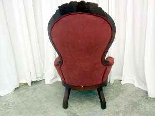 Pair of Vintage Victorian Style Chairs w Tufted Velvet Fabric in Dark
