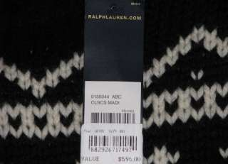 595 NWT POLO RALPH LAUREN CASHMERE WOOL MENS BLACK HEAVY KNIT SWEATER