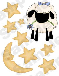 SHEEP STARS MOON BABY NURSERY WALL ART STICKERS DECALS