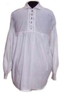 Mens White Cotton Renaissance Poet Shirt Size S M L XL