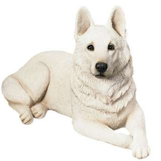 BEAUTIFUL WHITE GERMAN SHEPHERD DOG STATUE ORIGINAL FIGURINE SCULPTURE