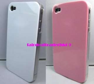 2X WHITE / PINK MATTE EDGE APPLE IPHONE 4 4S HARD CASE