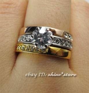 YELLOW & WHITE & ROSE GOLD GF R75 WEDDING SWAROVSKI SOLID LADIES RING