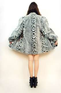 Vtg 80s Snow LEOPARD Animal Print FAUX FUR Spotted Swing Dress COAT