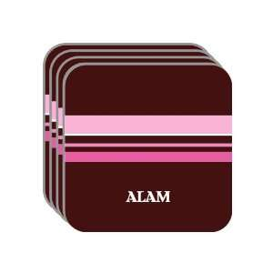 Personal Name Gift   ALAM Set of 4 Mini Mousepad Coasters (pink