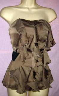 Olive/Taupe Ruffle Front Strapless Top S or L Free Ship