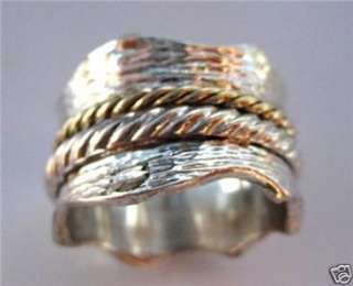 Sterling silver 9 carat gold spinner ring