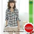 Multi Colored Urban Fashion Cowboy Chic Plaid Check Button Shirt Top S