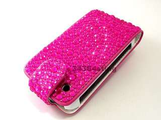 DIAMOND BLING GEM FLIP CASE COVER for BLACKBERRY CURVE 8520 9300 9330