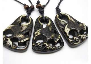 5PCS Hawk Yak Bone Carving ibe Pendan Necklace COOL |