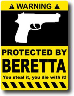 Protected By Beretta Sticker Decal Gun Case 9mm 40 45