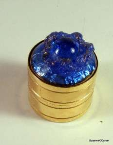 Vintage France Gold Plated Blue Poured Glass Pill Box Free US Shipping