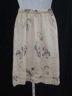 you are bidding on a theory beige brown floral print flowy skirt size