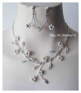 Bridal Crystal & Pearl Necklace Earrings Set Prom A305