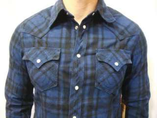 NWT True Religion Mens Plaid Flannel Western Shirt