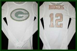 Green Bay Packers Aaron Rodgers Bling Jersey Tank Top Tee T Shirt LONG