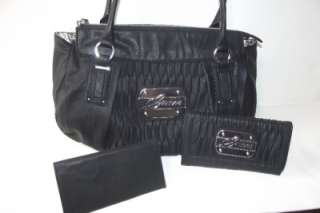 NEW WITH TAG GUESS ABILENE BLACK SATCHEL HANDBAG PURSE WITH CHECKBOOK
