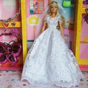 HANDMADE BRIDAL LACE Wedding Gown Dress w/ Veil for Barbie Doll (White
