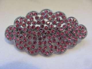 BRIDAL Pink CRYSTAL RHINESTONE Jewelry HAIR BARRETTE
