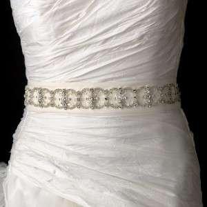, Rhinestones & Bugle Beads Dress Sash Bridal Belt White or Ivory New