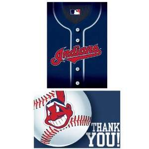 Lets Party By Amscan Cleveland Indians Baseball   Invite & Thank You