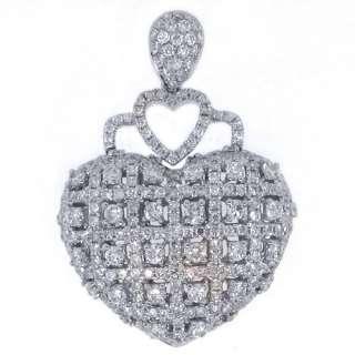 Carat Womens Diamond Heart Pendant Brilliant Round Cut Micro Pave
