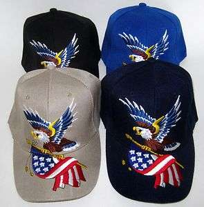 USA AMERICAN BALD EAGLE & FLAG 3D EMBROIDERED TRUCKER BASEBALL CAP HAT
